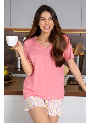 Katia & Bony Soft Skın şortlu Kadın Pijama Takımı - Pembe Pembe